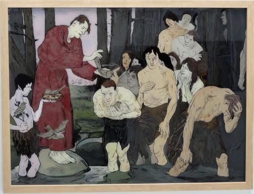 """Jan Kummer, """"Vogelpriester"""", 2015, Eglomisierung, 65,5x88, Preis: 2.800€"""